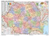 Harta Romania Administrativa dimensiunea 122 x 88cm cu sipci de metal cod:4890417SM